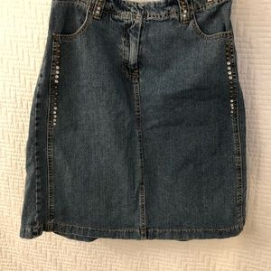 Nevada Jean Skirt with clear and brass coloured embellishments & flare on back
